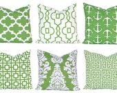 Euro Sham Kelly Green Pillows, Pillow Covers, Throw Pillow Covers, Green Cushion Covers, Kelly Green Greek Key, St. Patrick's Day Decor