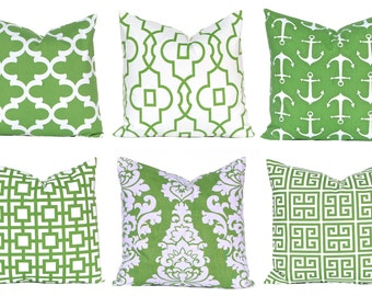 Kelly Green Pillows, Pillow Covers, Decorative Throw Pillow Covers, Green Cushion Covers, Kelly Green Greek Key, St. Patrick's Day Decor