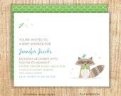 Nature Baby Shower Invitation, Raccoon Baby Shower Invitation, Baby Shower Invitation