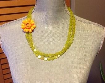 Vintage Orange Flower Necklace