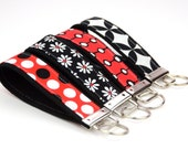 BUY 4 GET 1 FREE- Keychain Wristlet- Key Fob in Red Black Whites