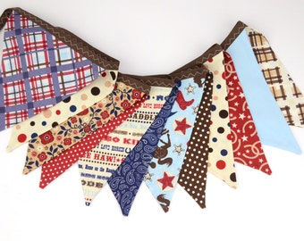 READY to SHIP! Reusable Fabric Bunting, Banner, Flag, Photo Prop, Decoration in Riley Blake Wanna Be a Cowboy Western Red Blue Horseshoe