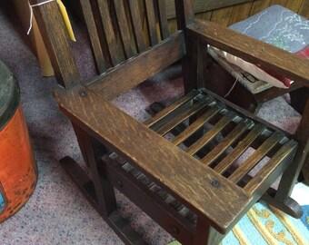 Antique Oak Chair, Antique Mission Child's Rocker, Child's Oak Rocking Chair