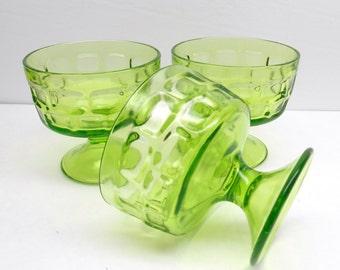 Vintage Green Glass Sherbet Bowls