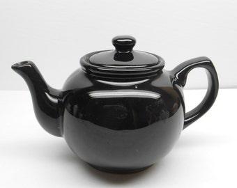 Vintage Black Ceramic Teapot