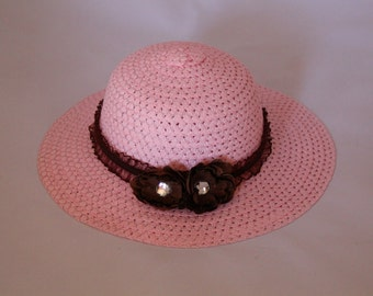 Tea Party Hat - Pink Easter Bonnet with Brown Ribbon - Girls Sun Hat - Pink Easter Hat - Sunday Dress Hat - Derby Hat - AG15