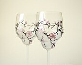 CRYSTAL Wine Glasses, Wedding Glasses, Sakura Glasses, Cherry Blossom Wedding, Swarovski Cristals , set of 2