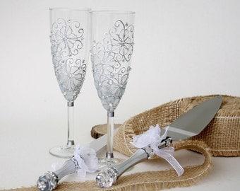 Cake Server Set, Wedding Glasses, Hand painted, Wedding SET