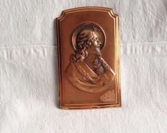 Vintage copper plaque Jesus  copper Christ