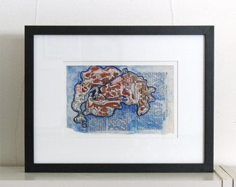 Original framed painting, red and blue abstract watercolor, science book page art, Colonization: Mutation