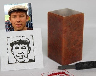 Custom Portrait Stamp - Single Individual Face, Natural Stone, Hand-carved Chop, Personalized Gift / NOT a rubber stamp