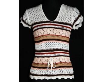 Cute 1970s Boho Pointelle Sweater - Size 0 - 70s Knit Top - Hippie - Bohemian - Tunic - XS - Stripes  -  Fall - Bust 30 - 33493-1