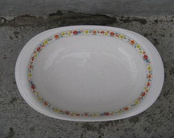 noritake happy talk versatone stoneware 10 inch oval vegetable bowl 1970s floral vintage stoneware