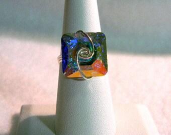 Sterling Silver Swarovski Iridescent Square Ring