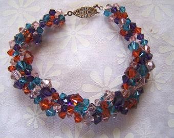 Bracelet Swarovski Crystal Spiral Rope  Beadweaving Tropical Storm Colors