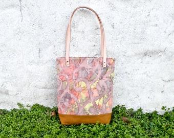 Batik Tote Bag - Batik and Canvas Handmade Shoulder Bag - Mauve
