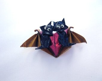 origami 'double trouble' black cat and winged heart brooch