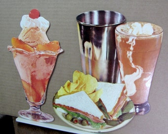 40s 50s Lunch Counter Diecuts Die Cuts Ice Cream Soda  Sundae Sandwich Plate Signs
