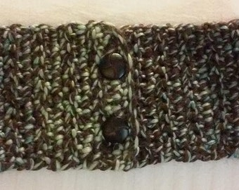 Thick and Chunky Crocheted Cowl Scarf - Brown and Green With 2 Beautiful Buttons