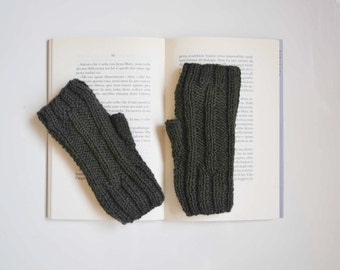 Fingerless gloves dark green wool, knit mittens for women