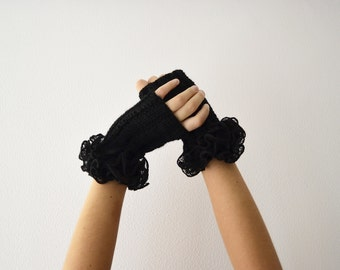 Fingerless gloves black mittens women accessories for winter handknit