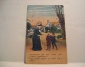 Funny 1910s Color Postcard Vintage Humor Woman and Boys Postmarked 1913