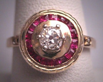 Antique Ruby Diamond Wedding Ring Vintage Art Deco 1930 Engagement .42ctw