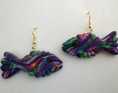 3D Fish Earrings Polymer Clay in Purple, Pink, Yellow and Green