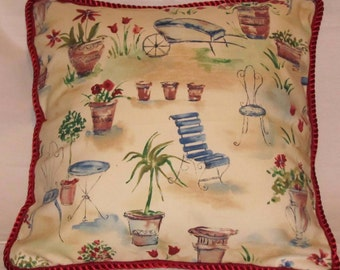 Country French Romantic Pillow Cottage Provence Beige Red Blue Bistro Accent Decorator Garden