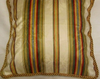 Country French Pillow Yellow Gold  Red Stripe Provence Cottage Provencal France