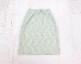 VINTAGE Half Slip Mint Green Lace Skirt Small