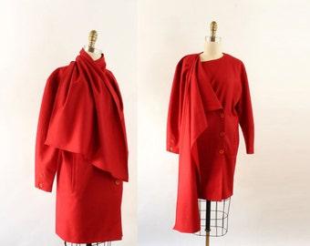 VINTAGE 1980s Red Dress Scarf Jacket