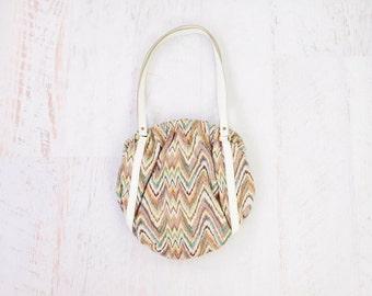Vintage 1970s Purse White Zig Zag Stripes Fabric Round Shoulder Bag