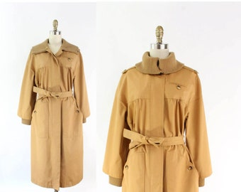 VINTAGE 1970s Womens Trench Coat Knit Collar Belted