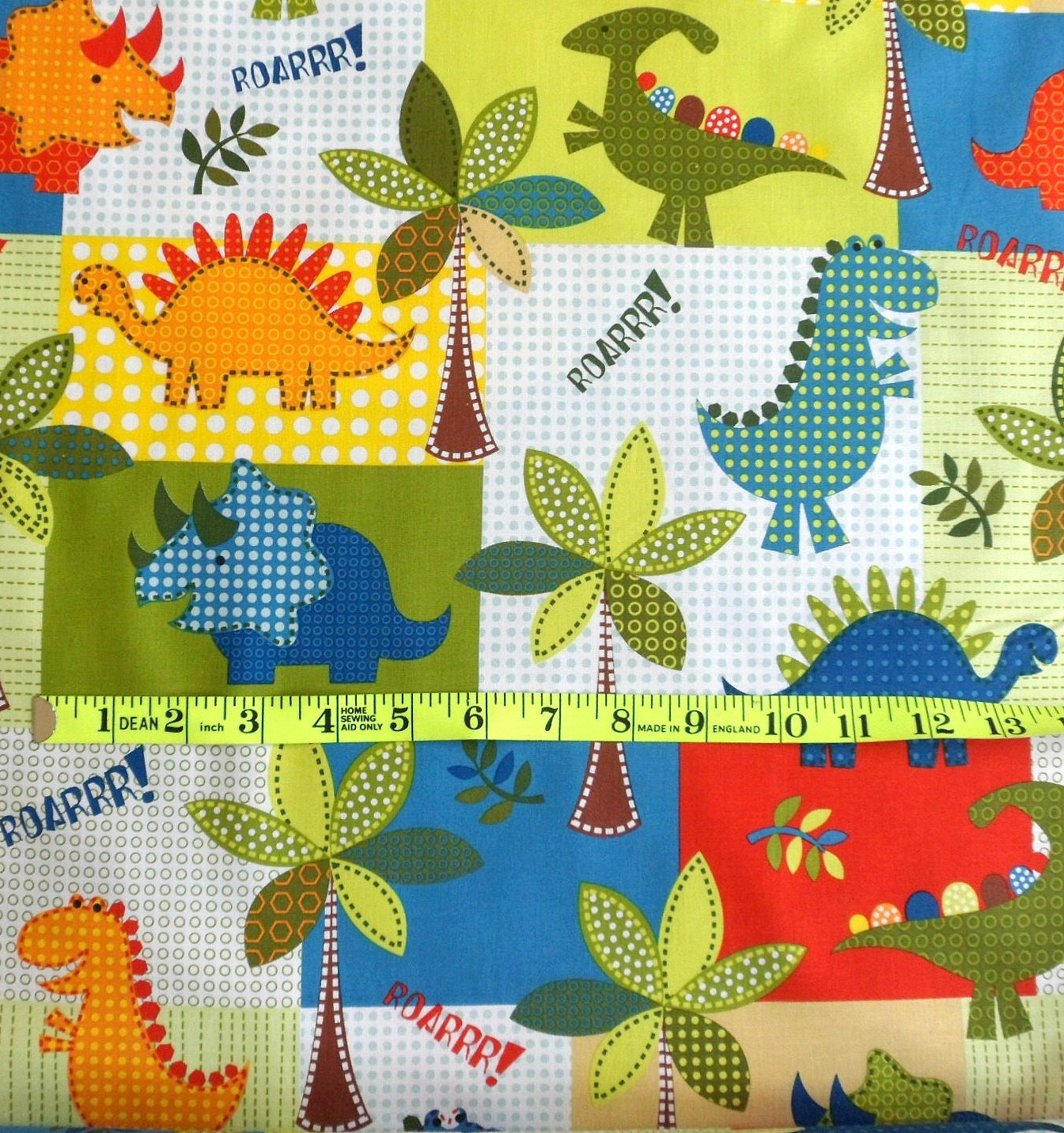 Dinosaur cotton fabric dino roars michael miller fabric kids for Dinosaur fabric
