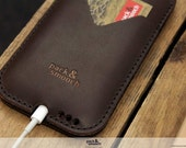 Natural iPhone 6s 6 Leather Wallet Case - 100% Wool Felt Case, Vegetable Tanned Leather HE-6-DB
