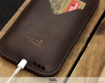 Natural iPhone 7 / 6s / 6 Leather Wallet Case - 100% Wool Felt Case, Vegetable Tanned Leather HE-6-DB