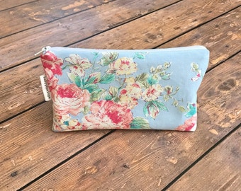 Pencil Case/Cosmetic Bag/ Gadget Case -  Blue Floral