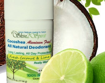 COCONUT & LIME - Cocoshea Natural Solid Deodorant - 100% Natural - Aluminum FREE - Gluten Free - No Synthetic Fragrances - 3 oz