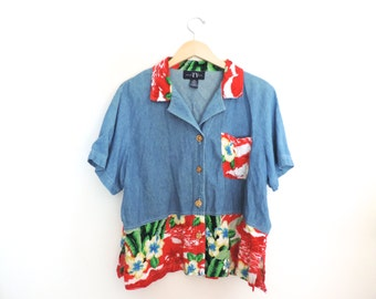 Vintage Hawaiian Pocket Jean Shirt Size Large