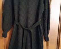 Vintage Black Dress Long Sleeve  MockTurtleneck Zippered Back Black Plus Size 1960s Size 18