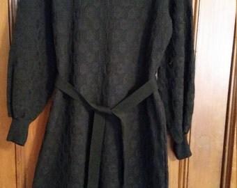 Vintage Black Dress Long Sleeve Mock Turtleneck Zippered Back Black Plus Size 1960s Size 18
