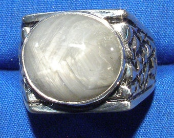 Star Sapphire Man's Ring, Natural Silver-Gray, Nugget Style Hand Crafted Recycled Sterling Silver, handmade