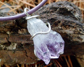 Rare Amethyst Point Necklace. Amethyst Point Pendant. Mineral. Natural Stone. Raw Amethyst And Sterling Silver Necklace. Rough Stone.