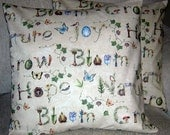 Garden Words Nature Thoughts Accent Throw Pillow Cover