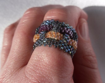Blue, Pink and Purple Shimmery Basket Weave Ring, Peyote Stitch