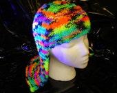 Raver Black Light Hat Hair Knit Wig yarn wig Neon Rainbow Glow Wig  Halloween Wig