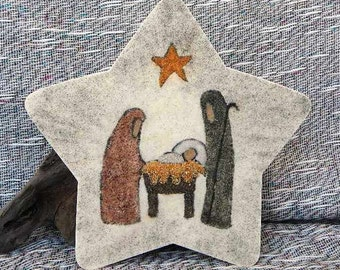 Nativity star original sand painting art work creche jesus mary joseph nativity packaged in a colorful gift bag rustic primitive 14H2
