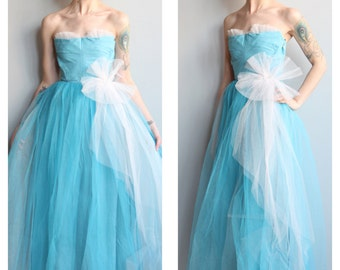 Late 40s Dress // Harlene Formal Dress // vintage 40s tulle dress