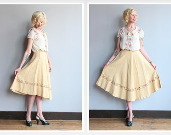 1940s Skirt // Sol de Verano Skirt // vintage 40s embroidered circle skirt